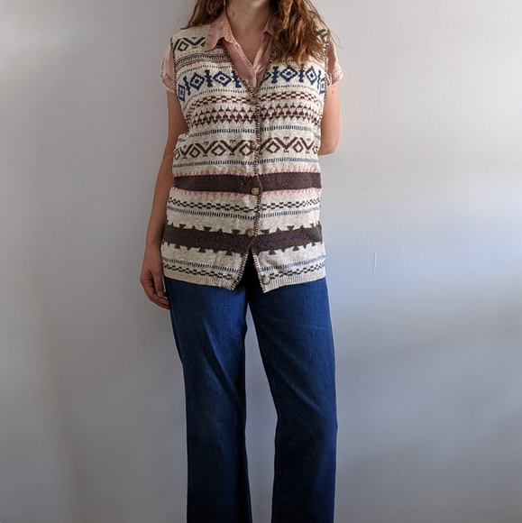 1980's Knit Cardigan Vest with Contrast Stitching